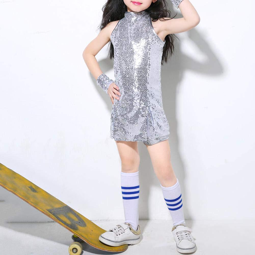 Akaddy Kinder M/ädchen Pailletten Jazz Hiphop 4er Tanzkleid Performance Kost/üm