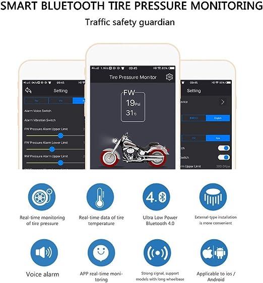 Lzcat Tp200 Motorrad Bluetooth Reifendruckkontrollsystem Tpms Handy App Erkennung 2 Externe Sensoren Auto