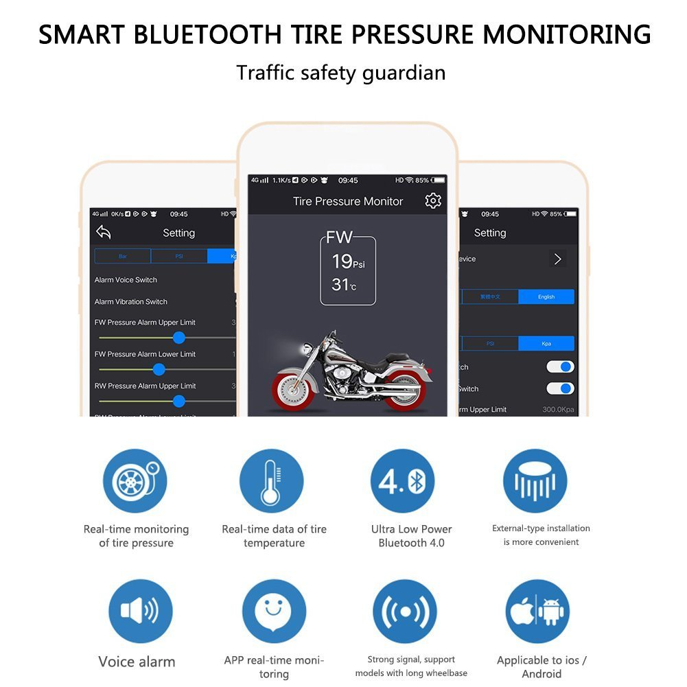 Lzcat TP200 Motorcycle Bluetooth Tire Pressure Monitoring System TPMS Mobile Phone APP Detection 2 External Sensors (Blacl) by Lzcat (Image #4)