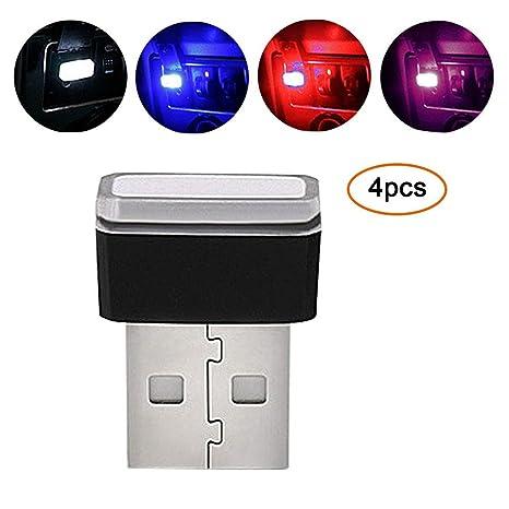 Pawaca Iluminación USB para coche, luces de interior de coche Atmosphere Luz Mini inalámbrica USB