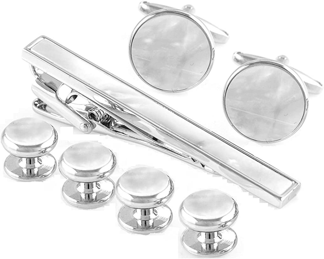 MRCUFF Mother of Pearl Cufflinks & Tie Clip Bar & Studs Tuxedo Set in Presentation Gift Box & Polishing Cloth