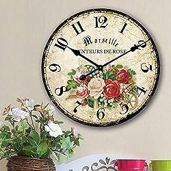 Romantic Roses Clock, 12 Eruner Rustic Floral Style Wall Clock *Marseille Senteur De Rose* Wooden Non-Ticking Bedroom Study Desk Home Art Decor(C-61)