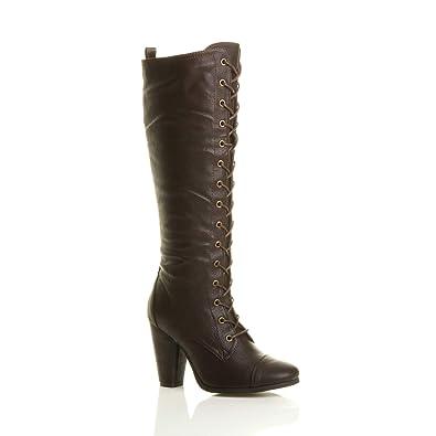 Ajvani Femmes haute talon carré lacets genou mollet motard bottes  militaires taille 3 36 02967d685d36