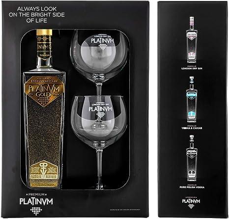 Pack London Dry Gin Platinvm Gold con Oro y dos elegantes copas ...