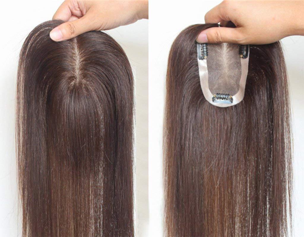 Capelli top pezzo capelli umani Toupee Best Nature look computer free Part Hair clip in topper per donne con sottili o bianco capelli base 7* 11cm LUCASY