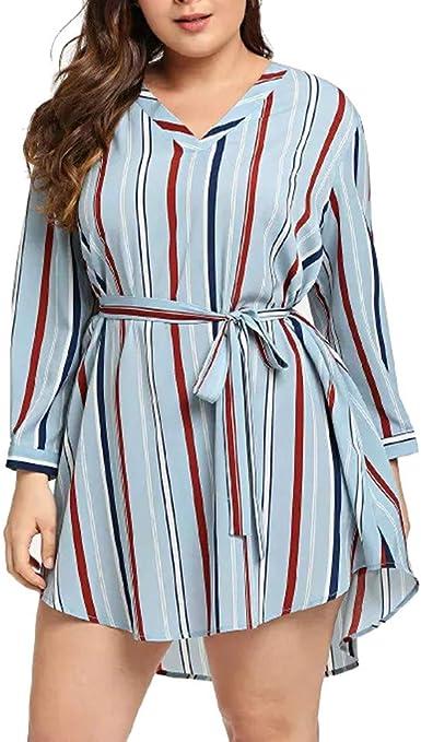 Fossen Camisas Mujer Tallas Grandes a Rayas Originales Vestido - Camisas Modernas para Mujer Juveniles Blusas y Camisas de Mujeres Manga Larga Flojo: Amazon.es: Ropa y accesorios
