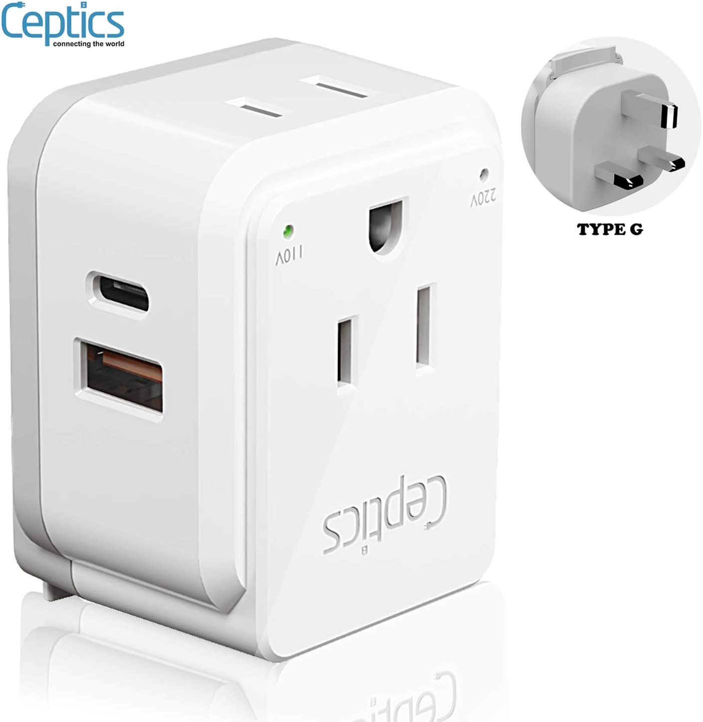 UK, Ireland Power Adapter Travel by Ceptics, Safe Dual USB & USB-C 3.1A - 2 USA Socket - Compact & Powerful - Use in Hong Kong, England, Dubai, Saudi Arabia - Includes Type G Swadapt Attachments