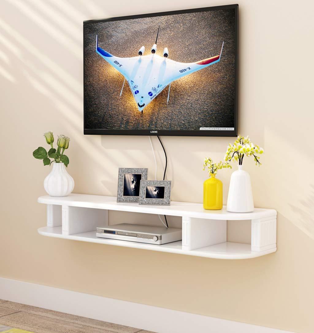 白フローティング棚壁掛け棚壁の背景装飾的なフレームルーター収納ボックス多機能ディスプレイ棚マルチメディアコンソールテレビスタンド (Size : 130cm) B07STN99WQ  130cm