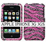 APPLE AT&T IPHONE 3G 8GB and 3G S 16GB 32G HARD PLASTIC CRYSTAL DIAMOND SPARKLE RHINESTONE BLING DESIGN BLACK AND HOT PINK ZEBRA PRINT STRIPE SLIDING SLASH SNAP ON CASE COVER