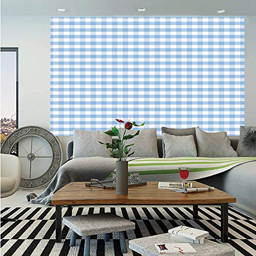 SoSung Checkered Huge Photo Wall Mural,Little Squares and Stripes Pastel Color Gingham Repeating Rows Vintage Tile,Self-Adhesive Large Wallpaper for Home Decor 100x144 inches,Light Blue White
