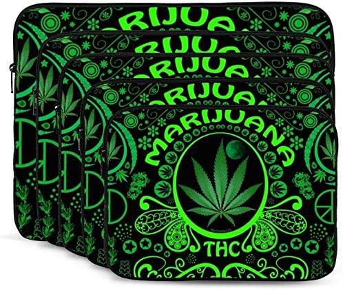 Marijuana Leaf Weed Laptop Sleeve Bag Evecase Neoprene Universal Sleeve Zipper Protective Cover Case 13 Inch for Notebook