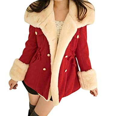dc55307c158 Sunward Women s Winter Warm Double-Breasted Wool Blend Jacket Coat L5 Red