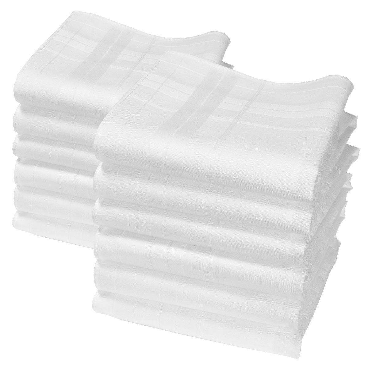 """Camille"" white handkerchiefs - 14"" square - 12 units Merrysquare"