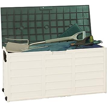 Clifford James Al Aire Libre Impermeable Utilidad Armario contenedor de Caja de Almacenamiento para el jardín, Green/Cream, M: Amazon.es: Jardín