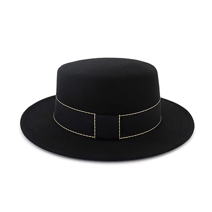 f1937f68a4f831 Image Unavailable. Image not available for. Color: European US Wide Brim  Plain Fedora Hats for Women Men Flat Top Jazz Wool Felt Hat