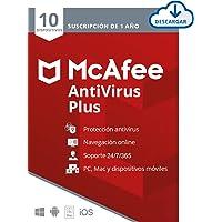 McAfee AntiVirus Plus 2021, Antivirus, 10 Dispositivos, Suscripción de 1 año, PC, Mac, Android, Smartphones, Descarga