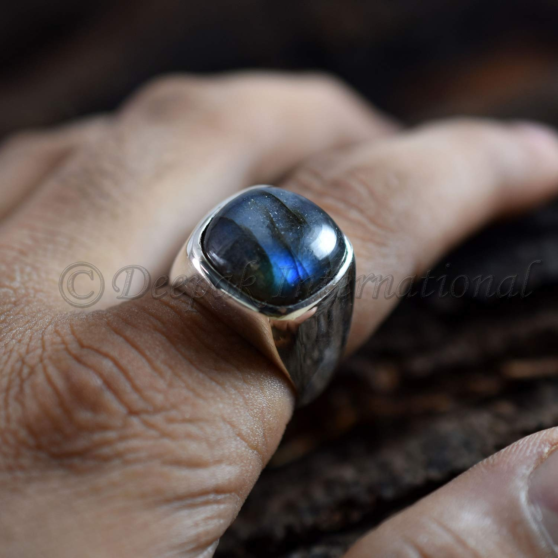 Oval Labradorite Gemstone 925 Sterling Silver Solid Handmade Ring Size Choose