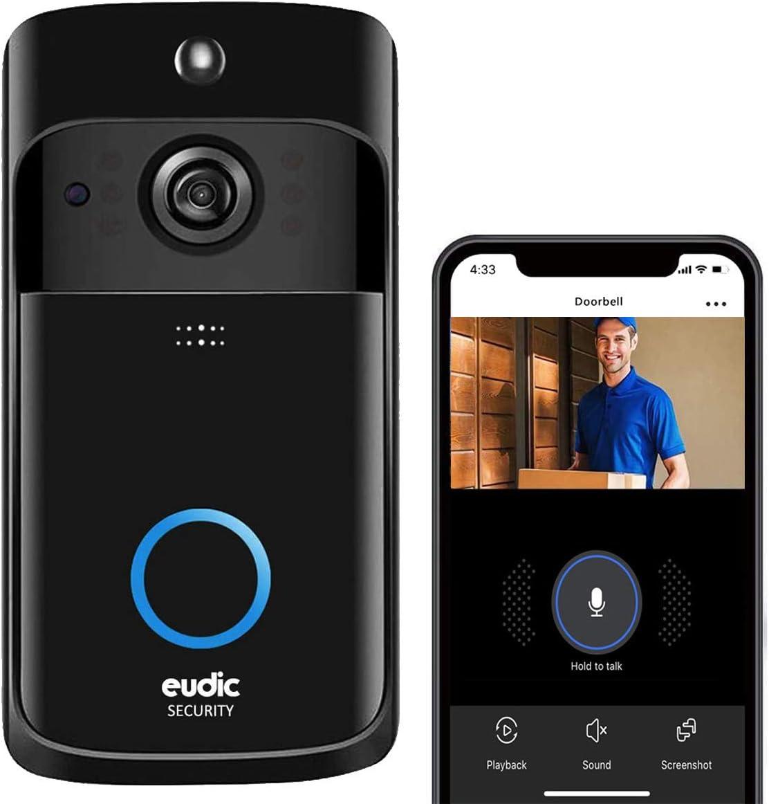 Video Doorbell Wireless WiFi Doorbell Camera IP5 Waterproof HD WiFi Security Camera Real-Time Video for iOS & Android Phone Night Light (Black) (Black)
