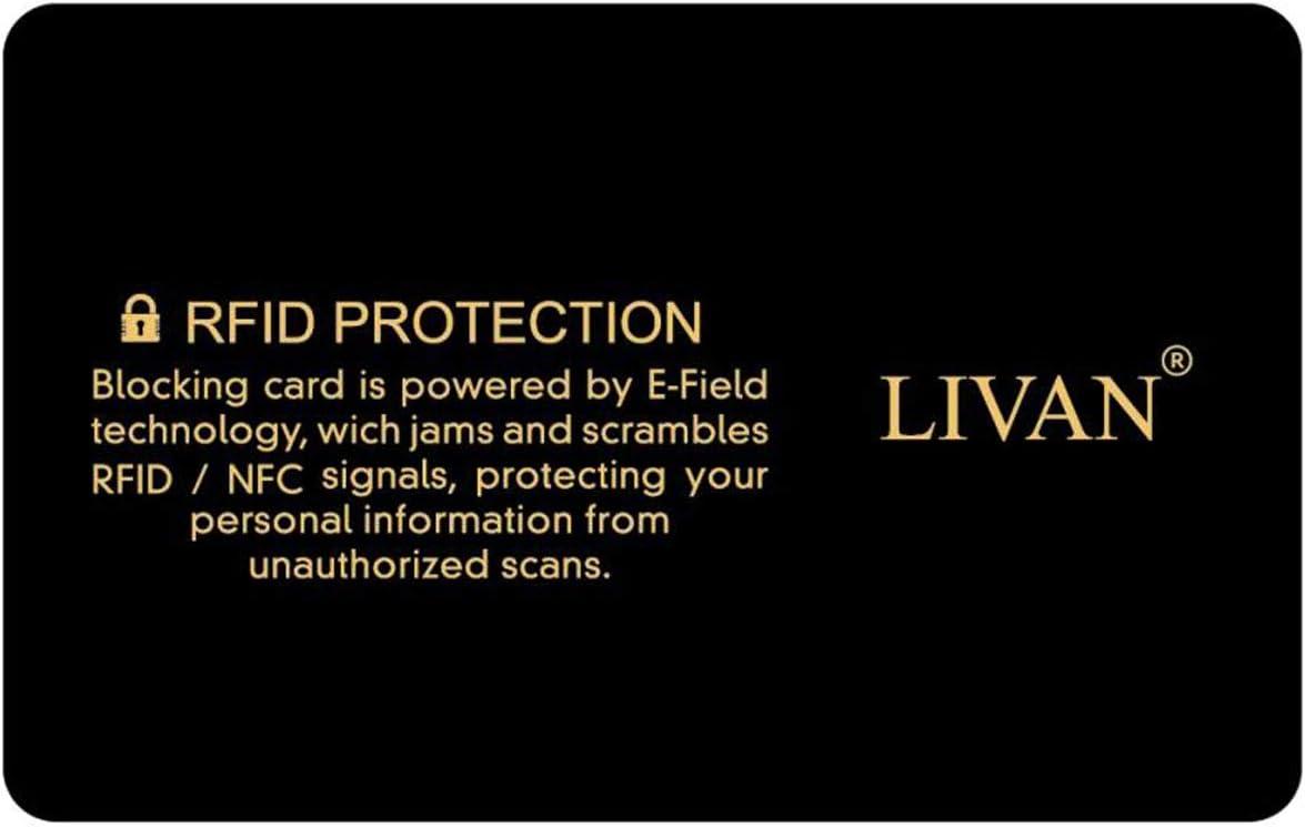 Lot de 2 dor/ées 1 Suffit Le Portefeuille est enti/èrement prot/ég/é Cartes Bleues Carte Anti RFID//NFC Carte de cr/édit LIVAN/® CB, L899 Protection Carte bancaire sans Contact