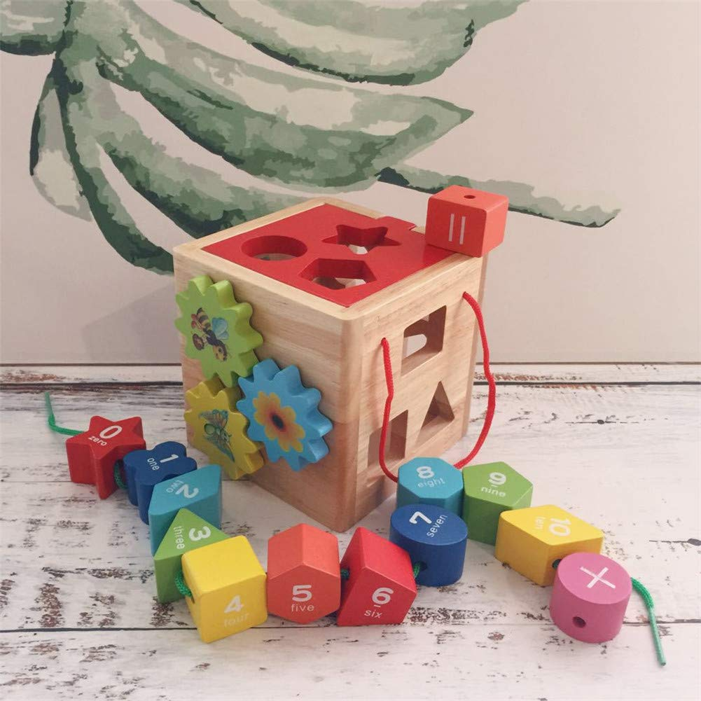 Open Ended Toys HBDeskToys Wooden Shape Sorting Cube with Tangram Classic 3D Push Pull Truck Toy for Toddlers and Baby Color Recognition and Geometry Learning