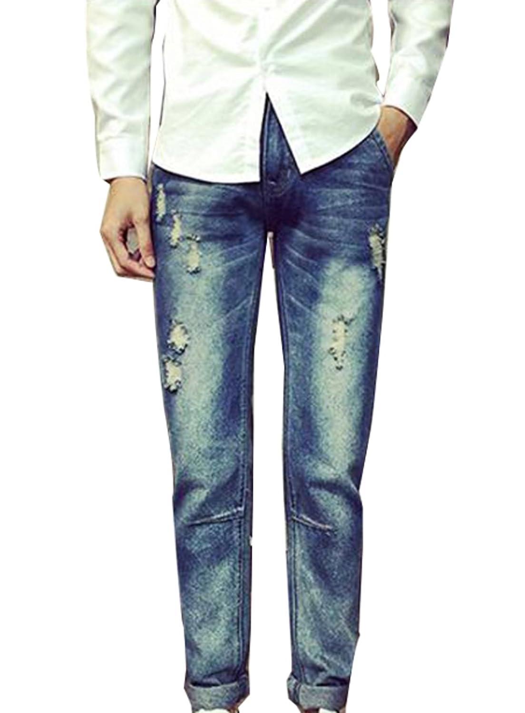 Goocyber Men Vintage Original Fit Washed Patches Denim Pants