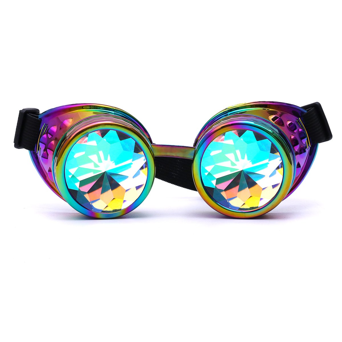 d7a6eb15689f Amazon.com  Winroor Kaleidoscope Rave Goggles Steampunk Glasses with Rainbow  Crystal Glass Lens  Clothing