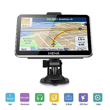 """GPS Para Coches, HIEHA 5"""" Navegador GPS 8GB Pantalla Táctil De Alta definición,"""