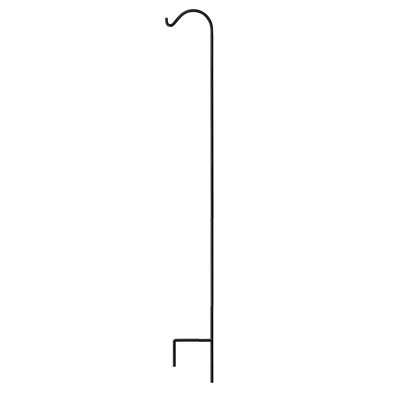 Gray Bunny Shepherd Hook, 92 inch Black 3/5 Inch Thick, Solid Single Piece Heavy Duty Rust Resistant Premium Metal Hook Hangers for Weddings, Hanging Plant Baskets Solar Lights Lanterns Bird Feeders
