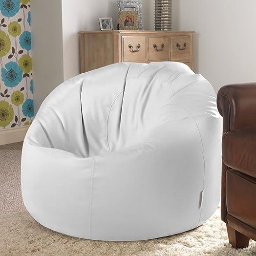 Bean Bag BazaarR Panelled XL Chair WHITE Faux Leather Bags