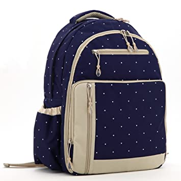 93d12e32d29a Amazon.com   Mariego Stylish Diaper Bag Backpack (Blue with dots)   Baby