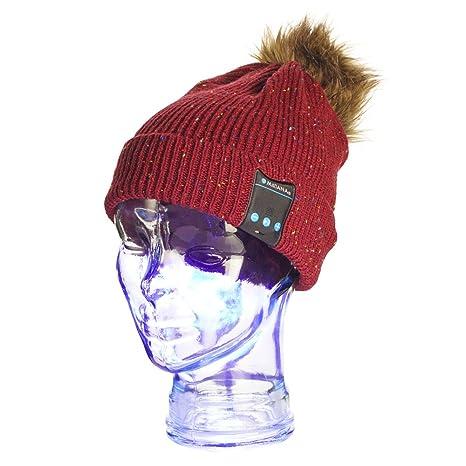 Wireless Bluetooth Berretto Cappello Inverno - Berretti a Maglia Doppio -  Cuffie Auricolari Stereo 46b11f652018