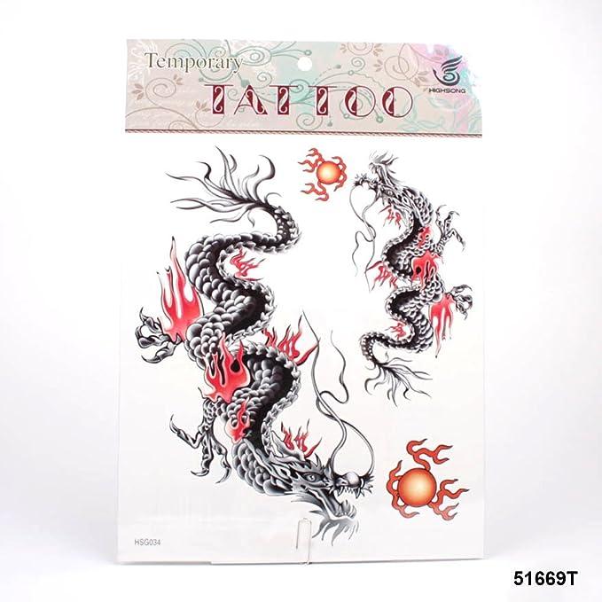 muy grandes tatuajes Negro Dragón chino con rojos llamas: Amazon ...