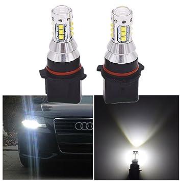 FEZZ 1000LM Coche Bombillas LED para Luz Antiniebla DRL Luz Diurna de Conducción Super Brillante, P13W PSX26W 9V-30V DC, 80W Blanco, Paquete de 2: ...