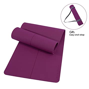 JELSYOGA Yoga Mat - Non Slip Eco Friendly TPE Extra Wide 26 Inch Yoga Mat with a Carrying Strap,6mm Thick All-Purpose Odorless Exercise & Fitness Mat ...