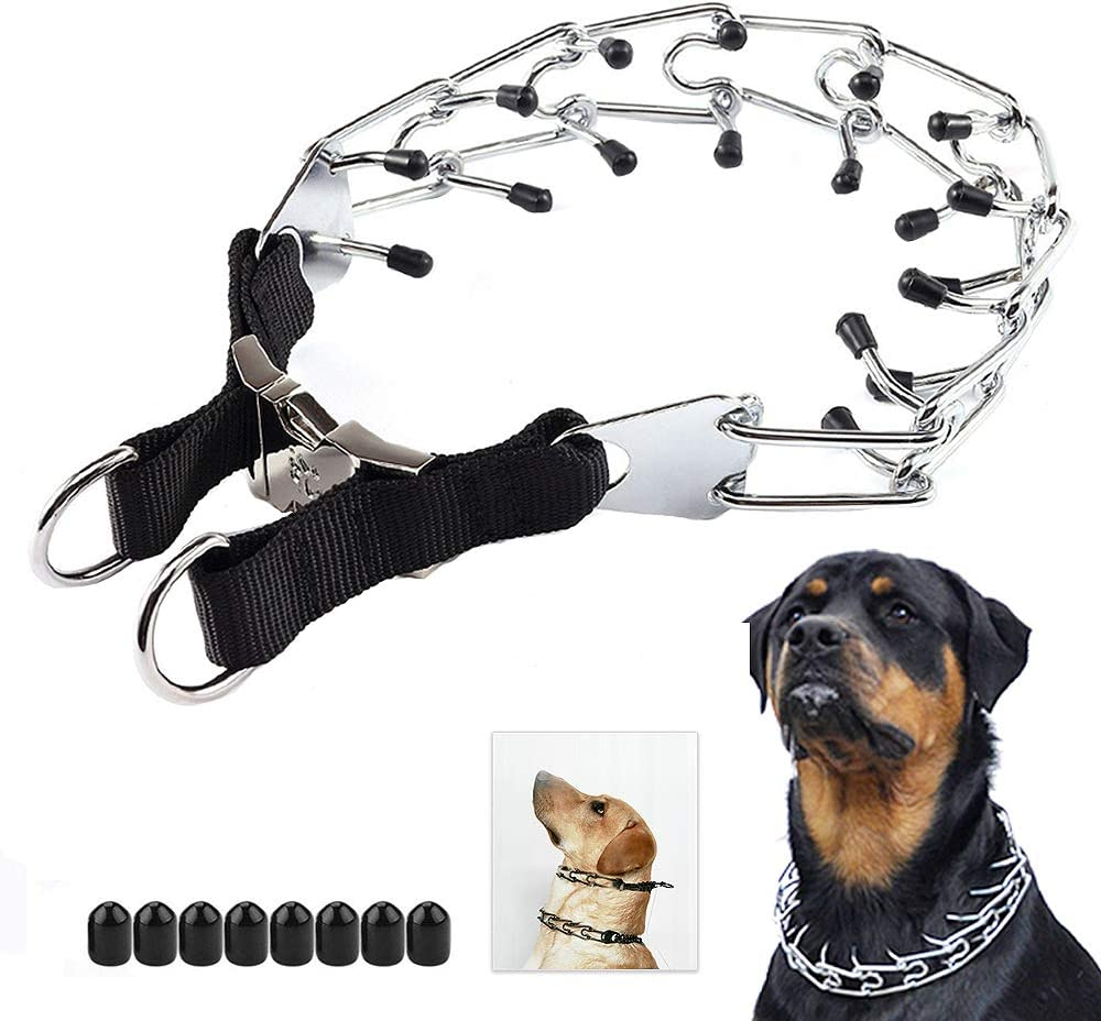 LUCKYPAW Dog Prong Collar Durable Stainless Steel Dog Pinch Training Collars for Medium Large Large Dogs
