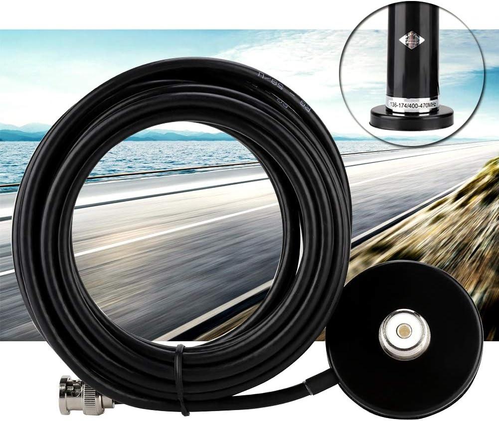 Bewinner Veh/ículo//Coche Radio m/óvil VHF//UHF Antena de Doble Banda Conector Macho BNC Montaje de Base magn/ética para estaci/ón de Radio m/óvil para autom/óvil//Esc/áner BC75XLT BC125AT