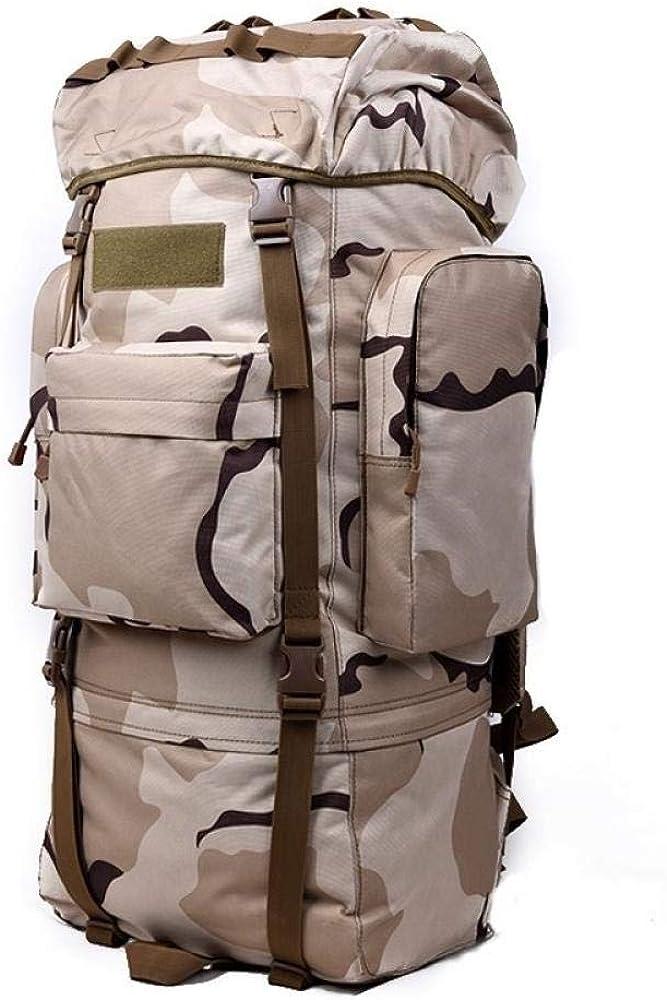 PKCABMochila macho de 65 litros de viaje mochila de gran capacidad 65L equipaje multifunción bolsa de alpinismo de viaje femenino 07 Camouflage 65l (With Rain Cover)
