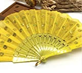 Yellow Home Decoration Crafts Vintage Retro Peacock Folding Fan Hand Plastic Lace Dance Fans