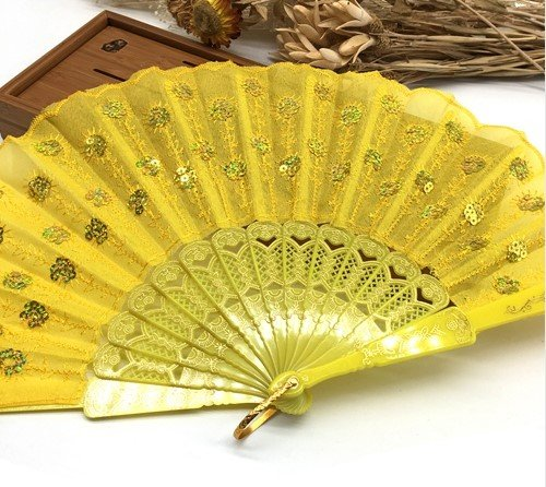 Yellow Home Decoration Crafts Vintage Retro Peacock Folding Fan Hand Plastic Lace Dance Fans by Hand Fan