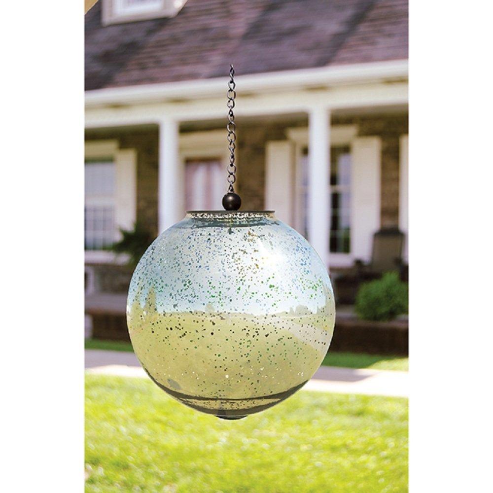 Carson 8 Silver Shimmer Glass Solar Orb