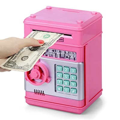 Piggy Bank Kids ATM Bank Electronic Password Cash Coin Can Auto Scroll Paper Money Saving Box Gifts Toys for 5 6 7 8 9 Year Old Boys Girls: Clothing