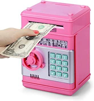 Highttoy Hucha para niñas de 3 a 12 años,con contraseña cajero automático caja para chicas regalos de cumpleaños para niños caja de dinero electrónico para niños monedas hucha para niñas y niños