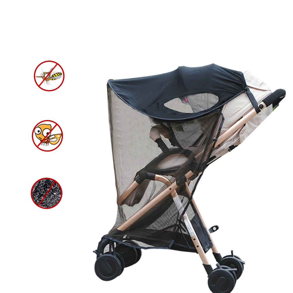 Baby Universal Anti-UV Windproof Insect Mosquito Repellent Sun Shade for Strollers Car Seat Black Aneil