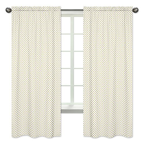 Sweet Jojo Designs 2-Piece Gold and White Polka Dot Window Treatment Panels Curtains for Amelia Bedding - Dot Rod Polka