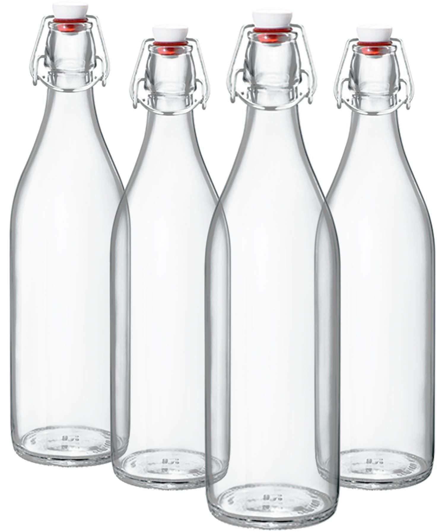 Bormioli Rocco Giara Clear Glass Bottle With Stopper [Set of 4] Swing Top Bottles Great for Beverages, Oil, Vinegar | 33 3/4 oz by Bormioli Rocco