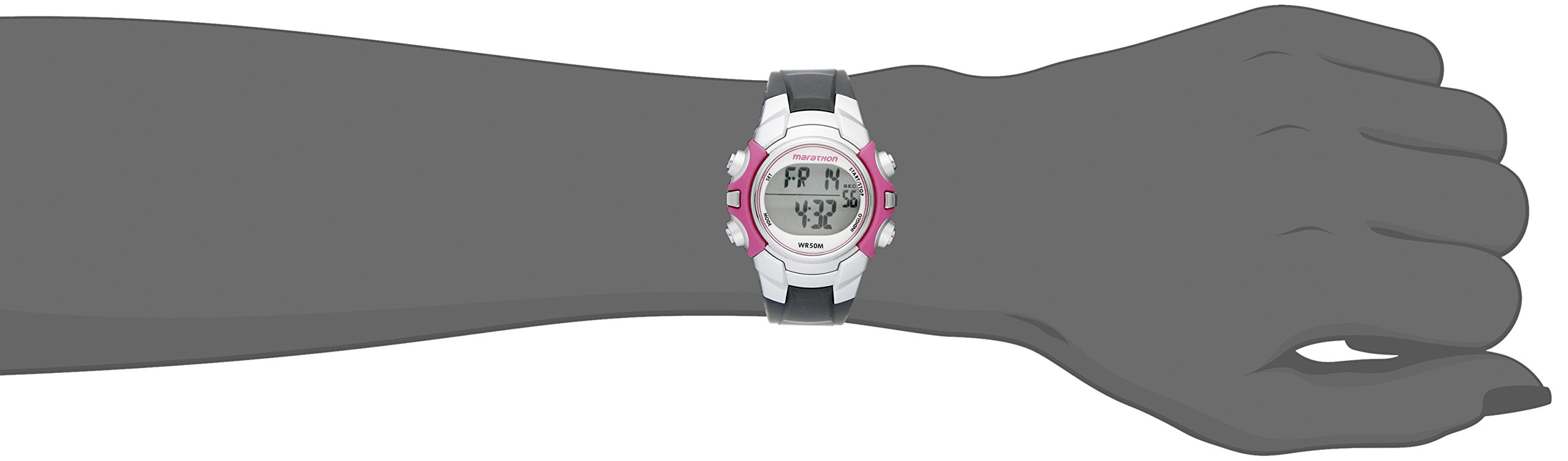 Marathon by Timex Women's T5K646 Digital Mid-Size Gray/Pink Resin Strap Watch by Timex (Image #3)