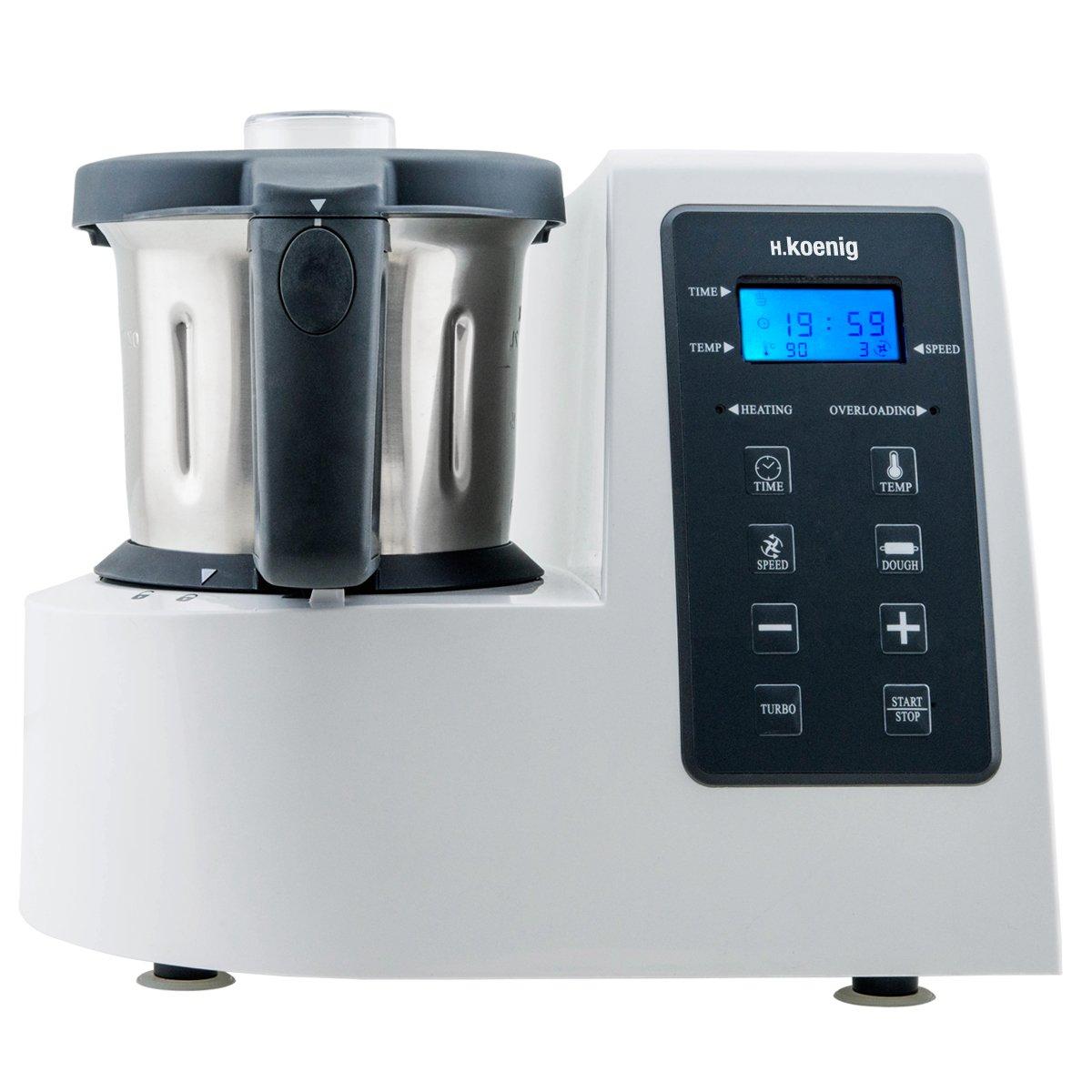 H.Koenig HKM1028 Robot de Cocina Funcion Caliente, 1300 W, 600 W, Acero Inoxidable, Multicolor