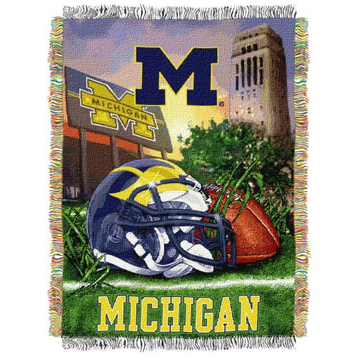"The Northwest Company Officially Licensed NCAA Michigan Wolverines Home Field Advantage Woven Tapestry Throw Blanket, 48"" x 60"""