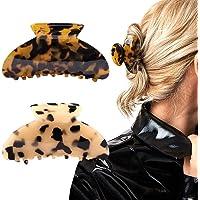 2PCS Hair Claw Banana Clips tortoise Barrettes Celluloid French Design Barrettes celluloid Leopard print Large Fashion…