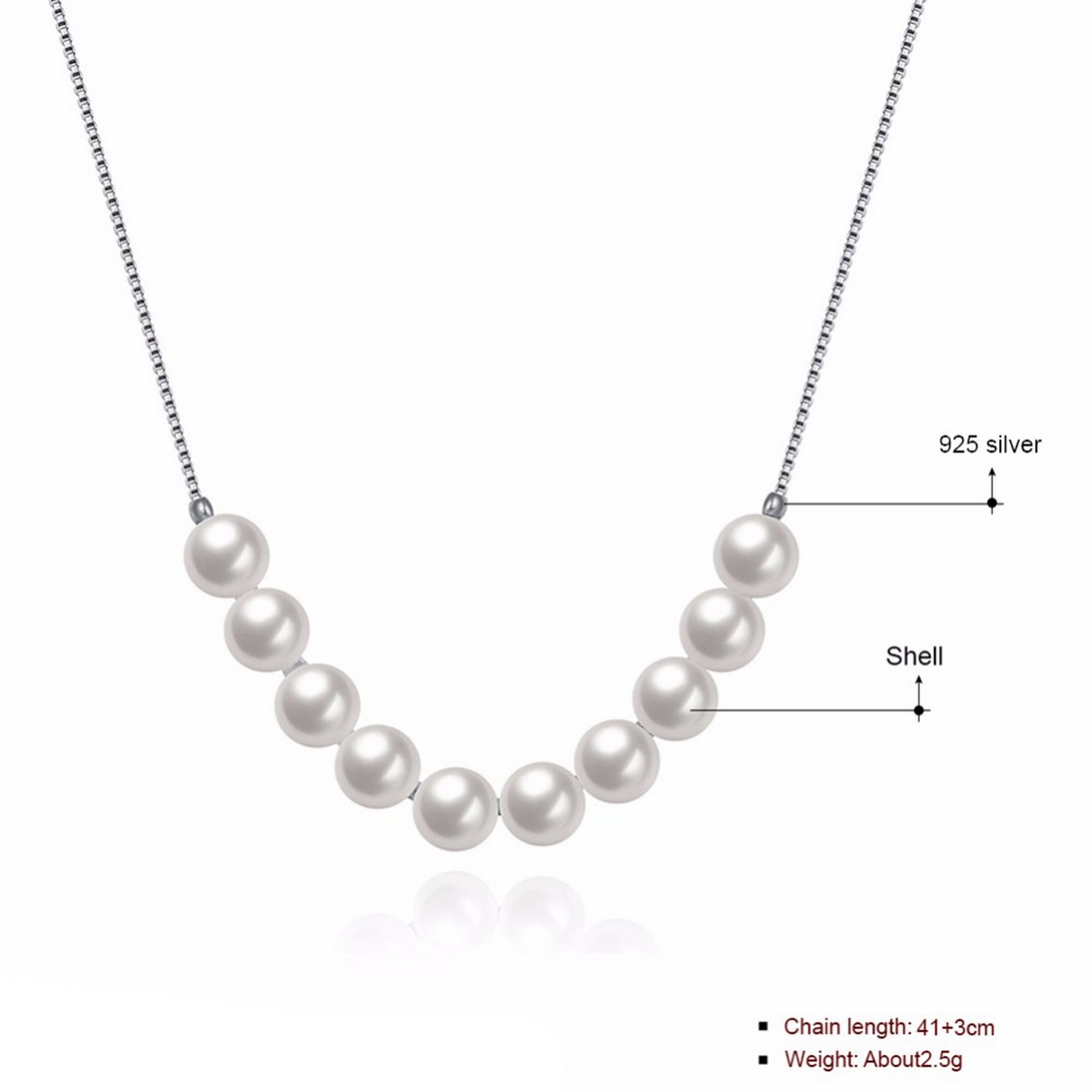 CS-DB Jewelry Silver Multiple Pearls Chain Charm Pendants Necklaces